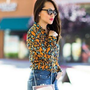 Asos Blouse Orange and Blue Blouse Size 10